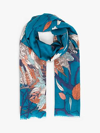 Powder Abstract Autumn Owl Print Scarf, Teal