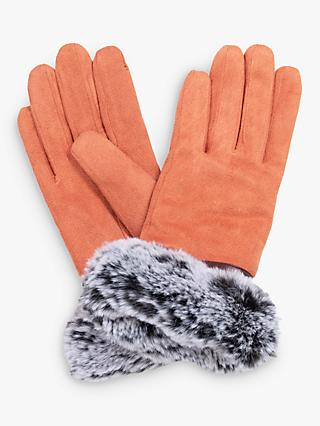 Powder Penelope Faux Suede Gloves, Coral