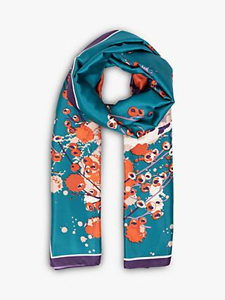Powder Watercolour Fox Satin Print Scarf, Teal
