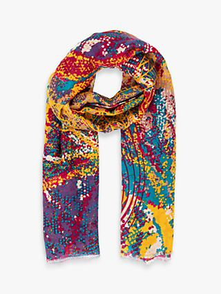 Powder Abstract Leaves Print Scarf, Mustard/Multi