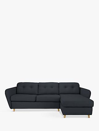House by John Lewis Arlo RHF Chaise End Sofa Bed, Light Leg, Dylan Charcoal