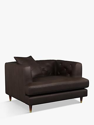 John Lewis & Partners Chester Leather Snuggler, Dark Leg