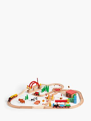 John Lewis & Partners Wooden Train Set, 120 Pieces