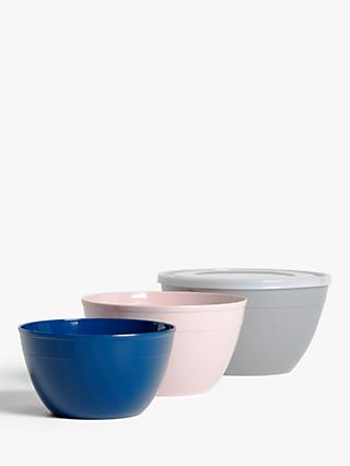 House by John Lewis Nesting Mixing Bowls with Lid, Set of 3, Assorted