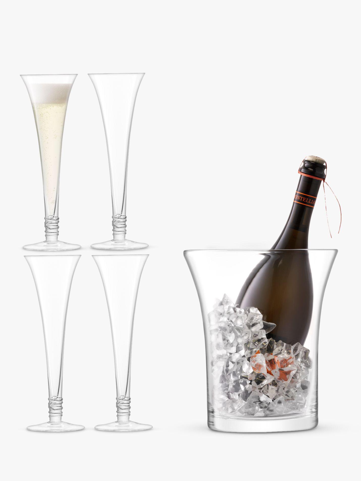LSA International LSA International 4 Prosecco Flutes & Ice Bucket Gift Set, Clear