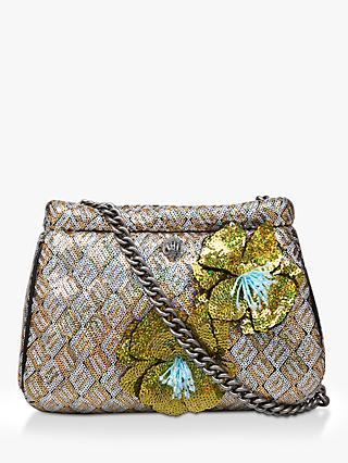 504089f660 Kurt Geiger London Kensington Small Embellished Clutch Bag, Gold Mix