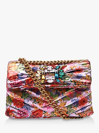 Kurt Geiger London Mini Mayfair Floral Cross Body Bag, Pink/Multi