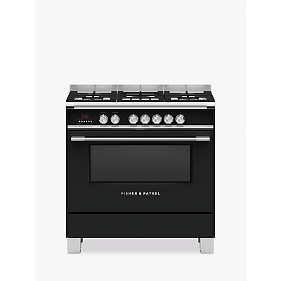 Image of Fisher & Paykel OR90SCG4 Single Dual Fuel Cooker, A Energy Rating, Black