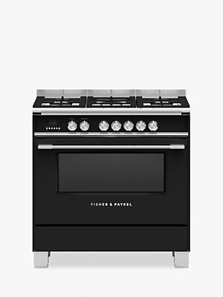 Fisher & Paykel OR90SCG4 Single Dual Fuel Cooker, A Energy Rating, Black