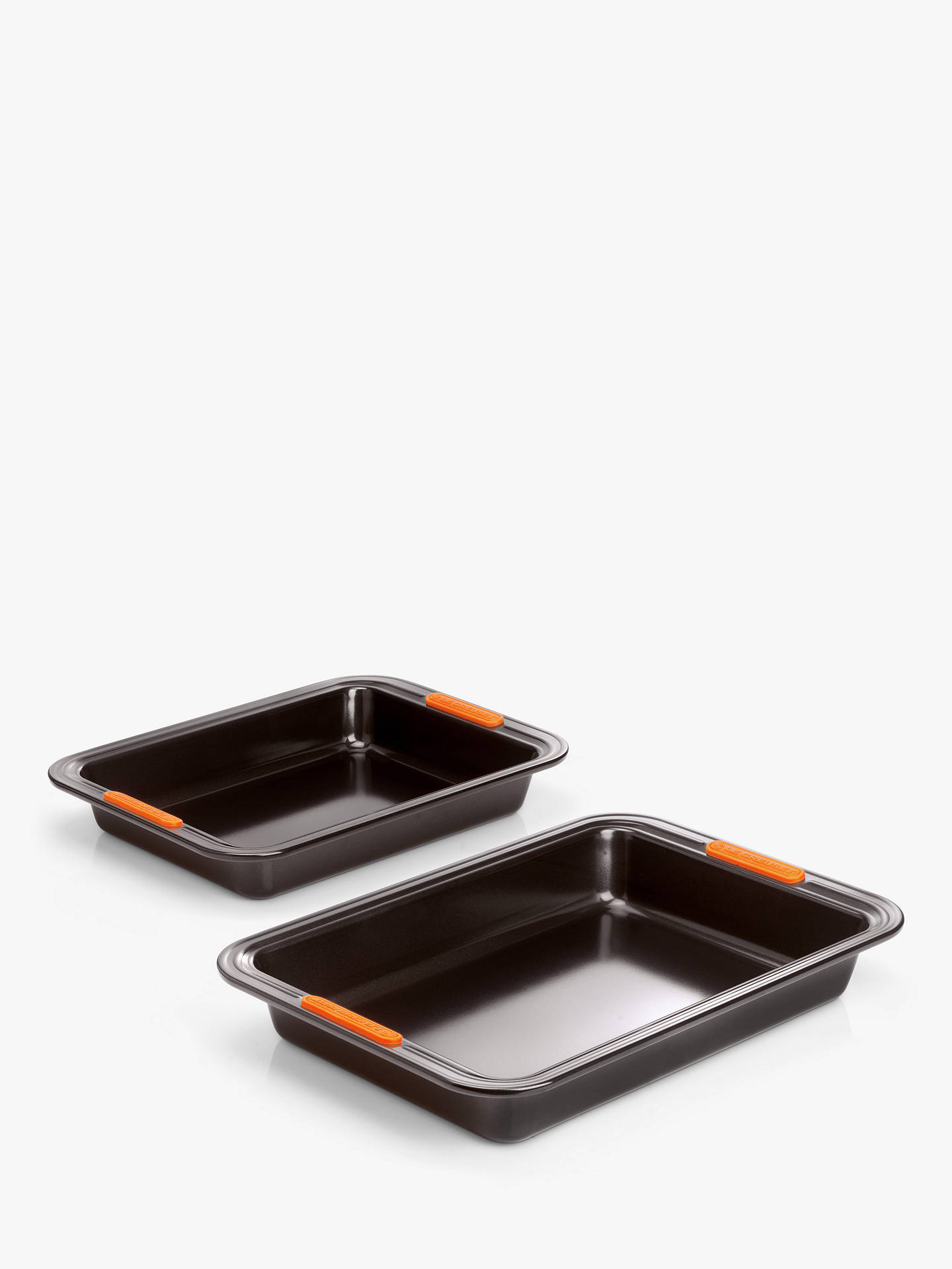 Le Creuset Non Stick Rectangular Cake Tin Baking Trays, Set Of 2, Black by Le Creuset