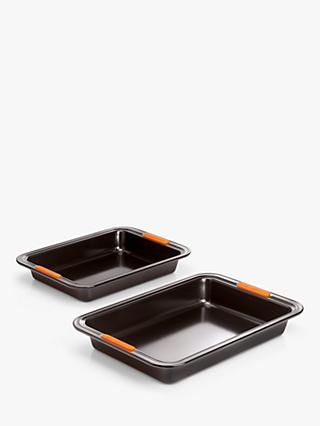 Le Creuset Non-Stick Rectangular Cake Tin Baking Trays, Set of 2, Black