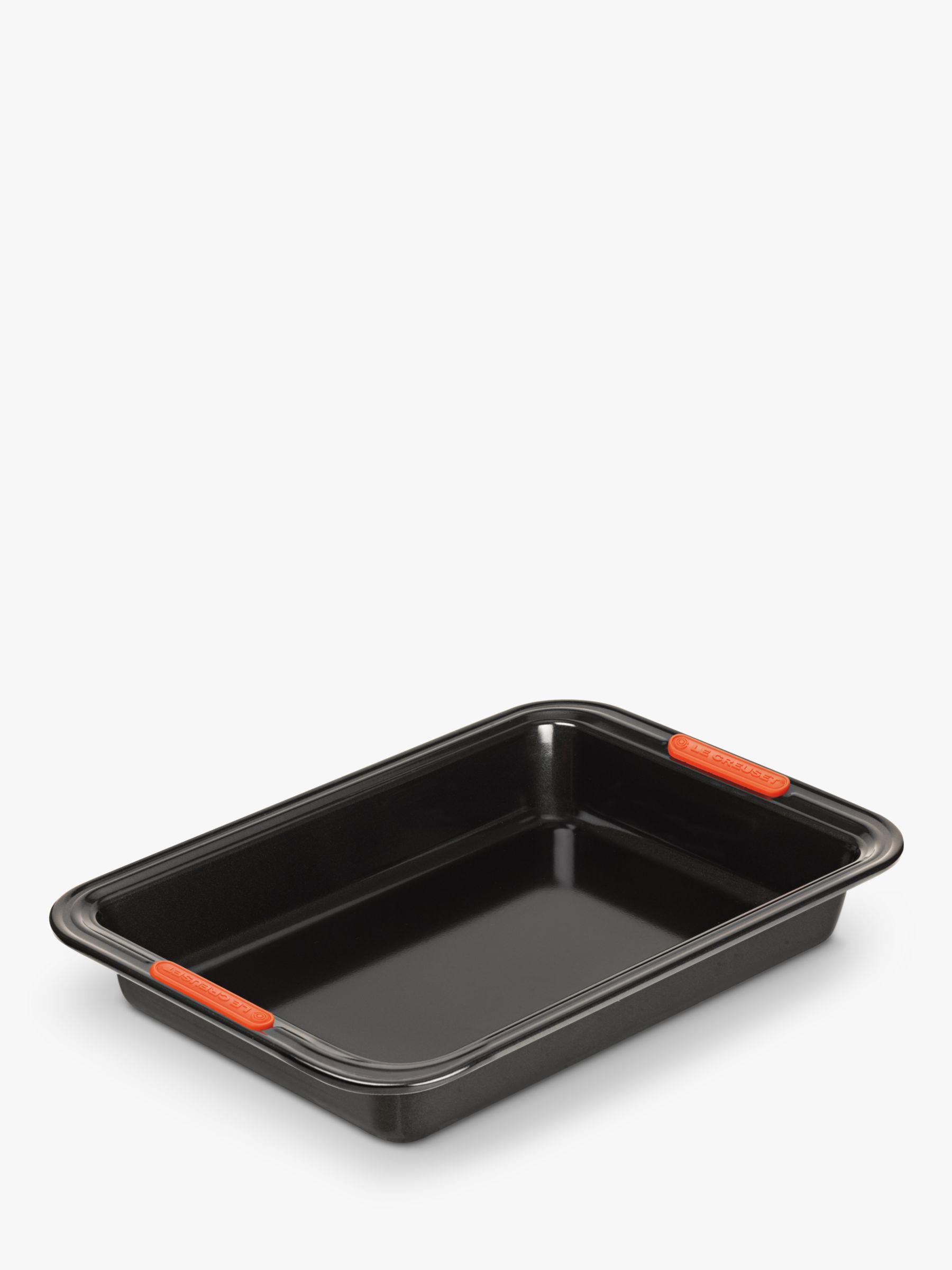 Le Creuset Non-Stick Rectangular Cake Tin Baking Trays, Set of 2, Black