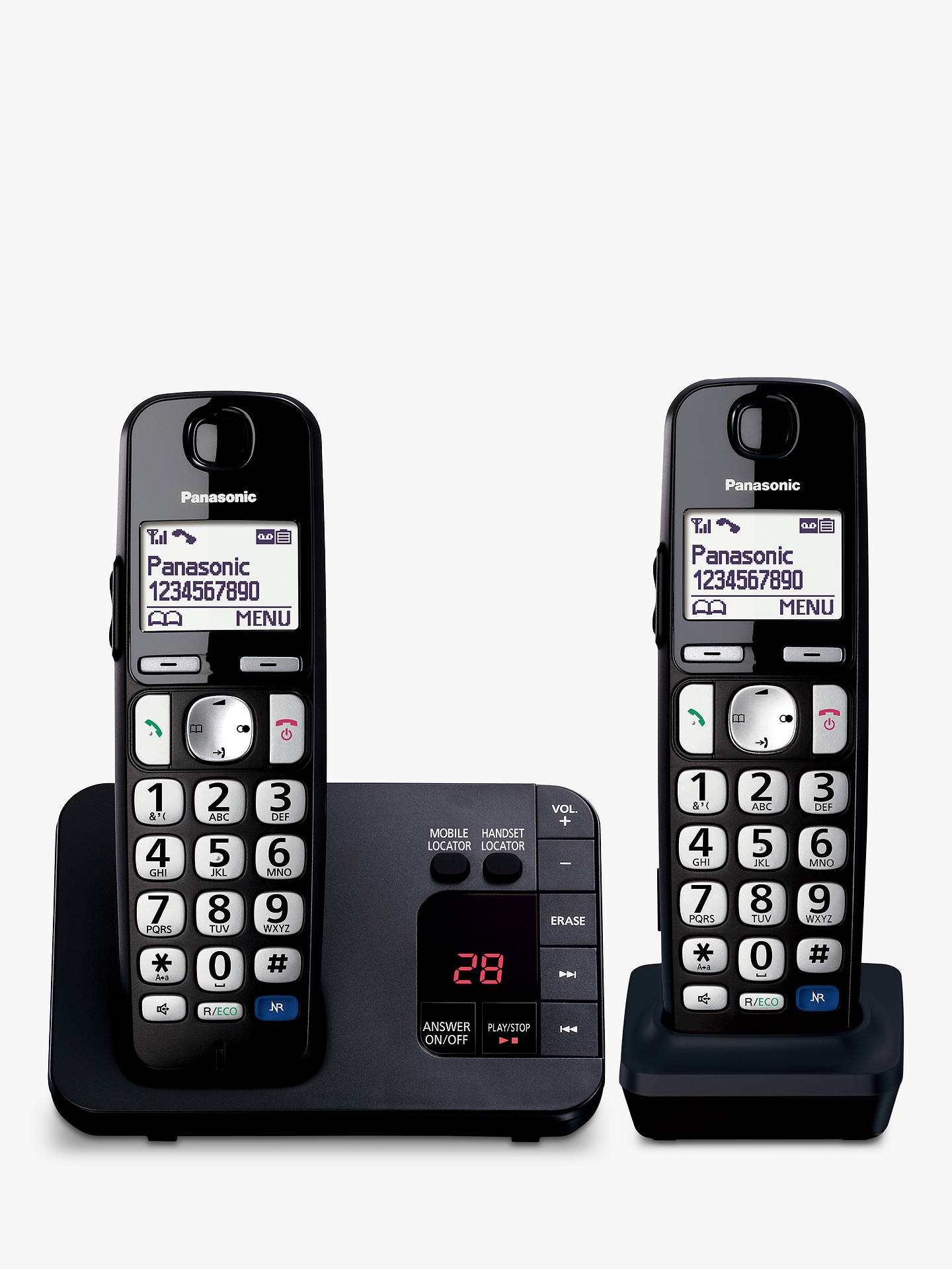 "Buy Panasonic KX-TGE722EB Bigger Button Digital Cordless Telephone with 1.8"" LCD Screen, Hearing Aid Compatibility, Nuisance Call Block & Answering Machine, Twin Dect, Black Online at johnlewis.com"