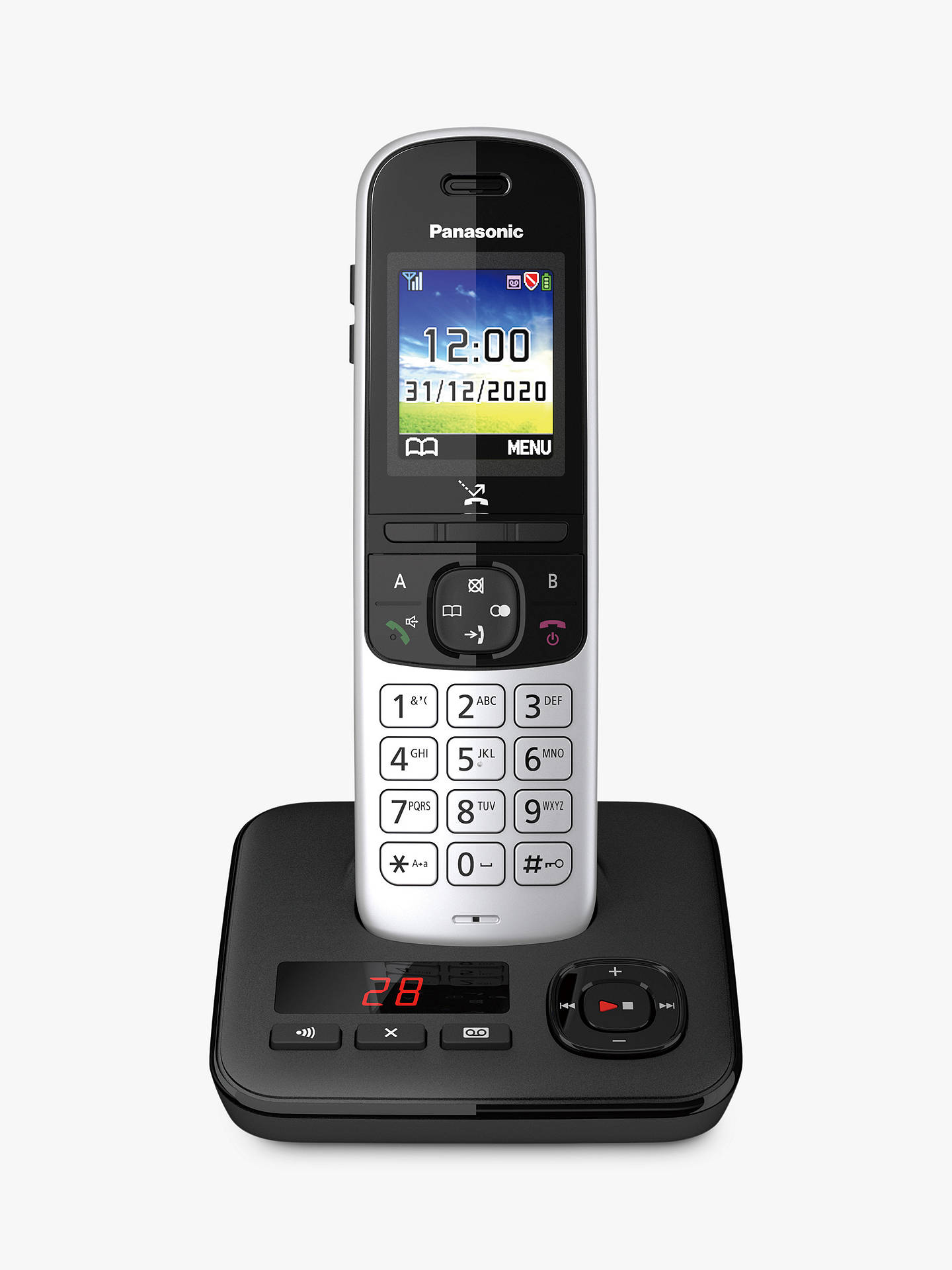 Buy Panasonic KX-TGH720ES Digital Cordless Telephone with Automated Call Block and Answering Machine, Single Dect, Silver Online at johnlewis.com