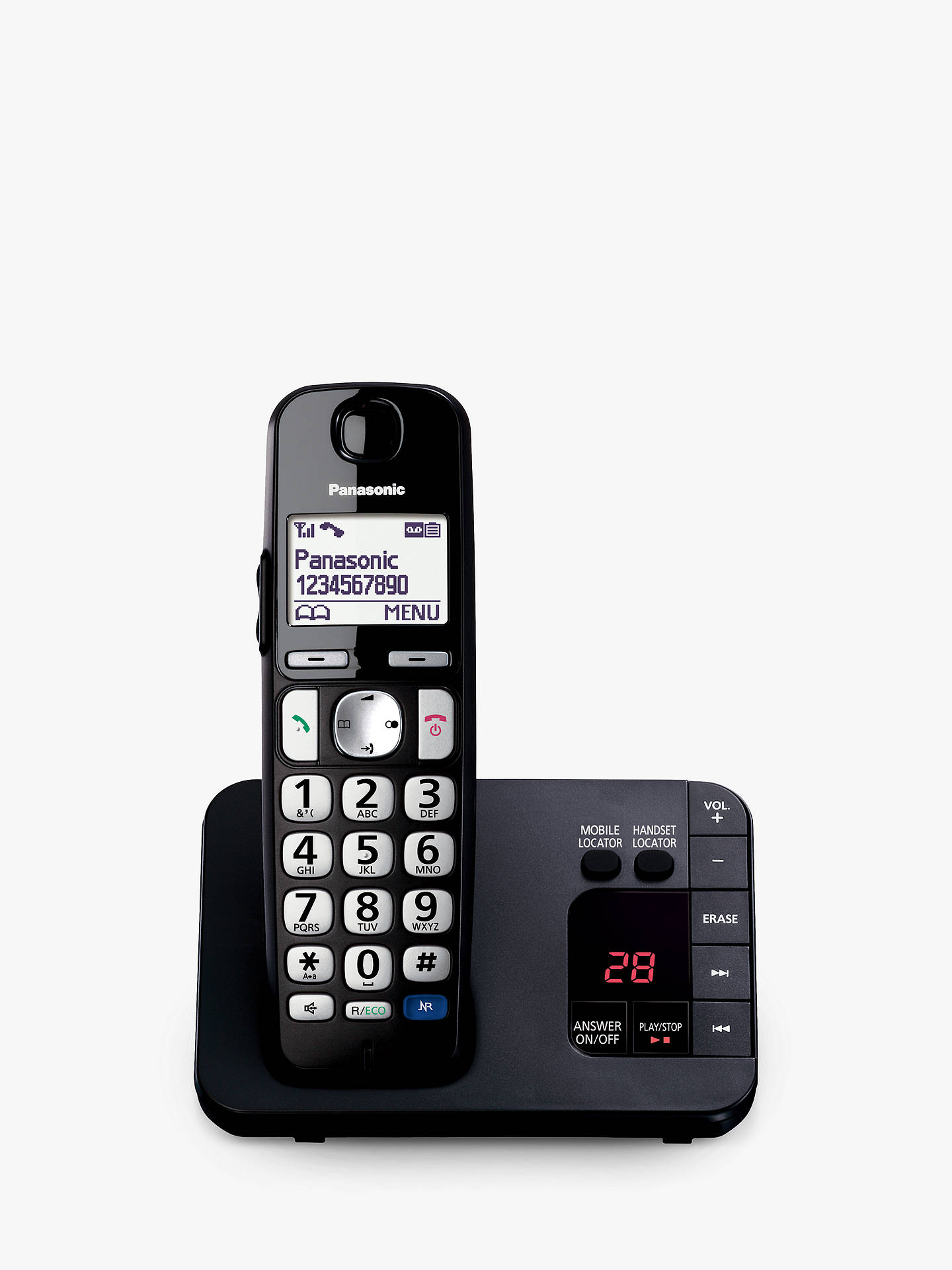 "Buy Panasonic KX-TGE720EB Bigger Button Digital Cordless Telephone with 1.8"" LCD Screen, Hearing Aid Compatibility, Nuisance Call Block & Answering Machine, Single Dect, Black Online at johnlewis.com"