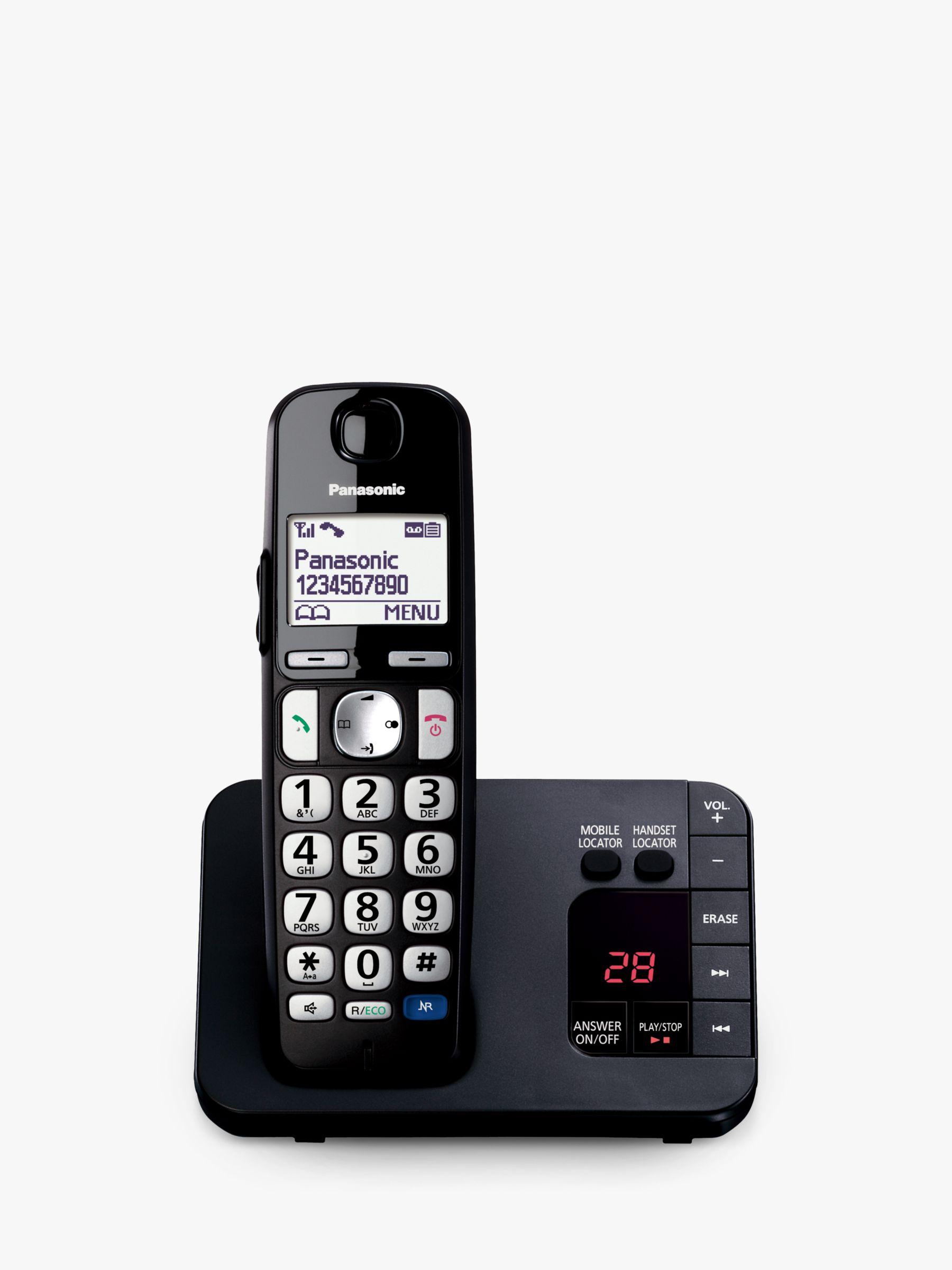 Panasonic Panasonic KX-TGE720EB Bigger Button Digital Cordless Telephone with 1.8 LCD Screen, Hearing Aid Compatibility, Nuisance Call Block & Answering Machine, Single Dect, Black