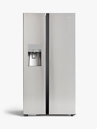 John Lewis & Partners JLAFFSS9018 American-Style Freestanding 65/35 Fridge Freezer with Water & Ice Dispenser, A+ Energy Rating, Silver Stainless Steel