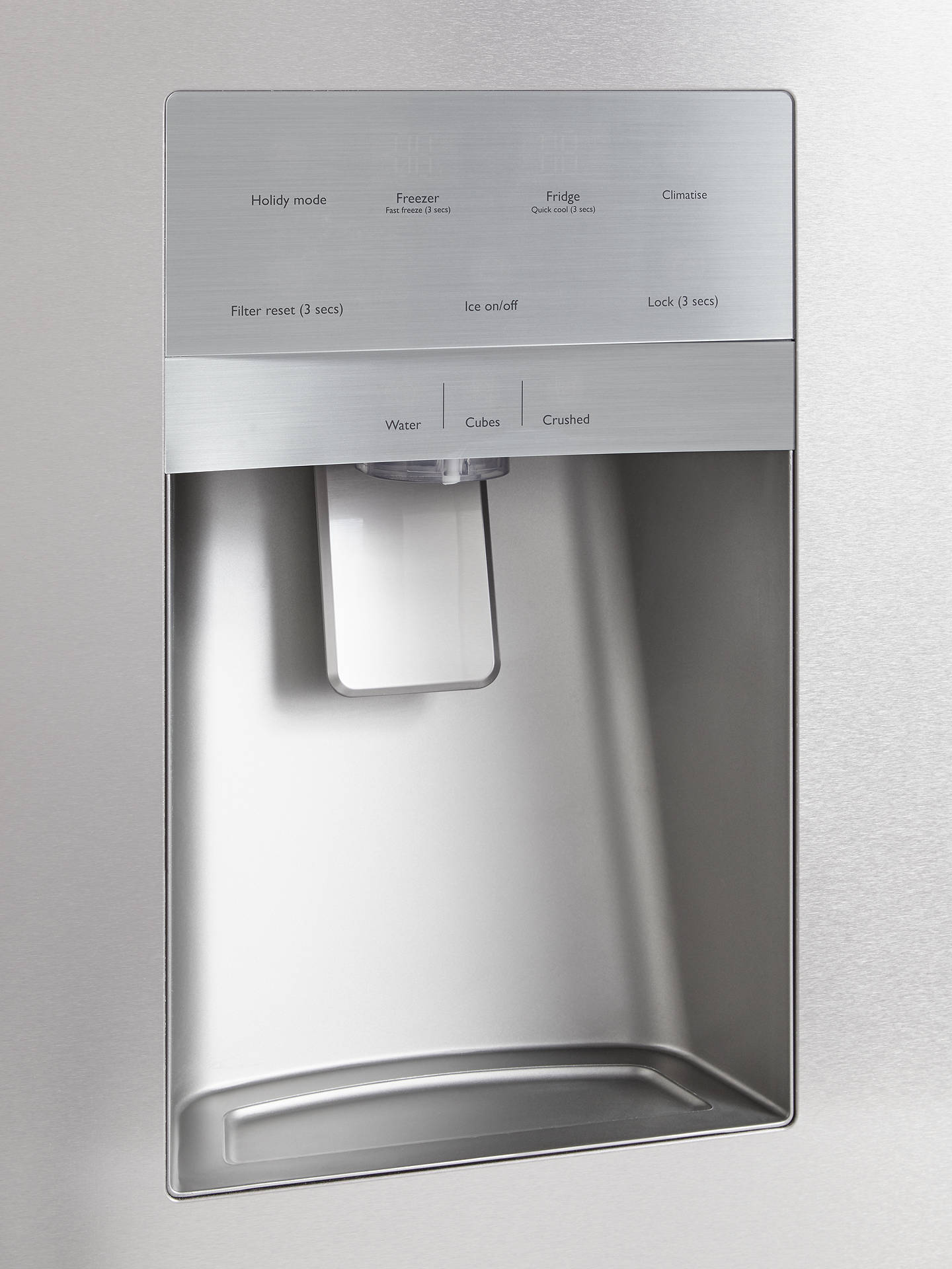 John Lewis & Partners JLAFFSS9018 American-Style Fridge Freezer with Water  & Ice Dispenser, A+ Energy Rating, Silver Stainless Steel