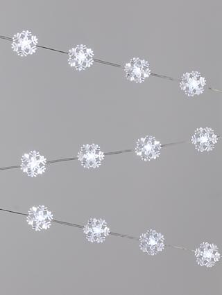 John Lewis & Partners 60 LED Snowflake Lights, Ice White, L3.3m