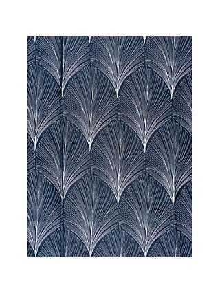 John Lewis & Partners Deco Fan Made to Measure Curtains or Roman Blind, Indigo
