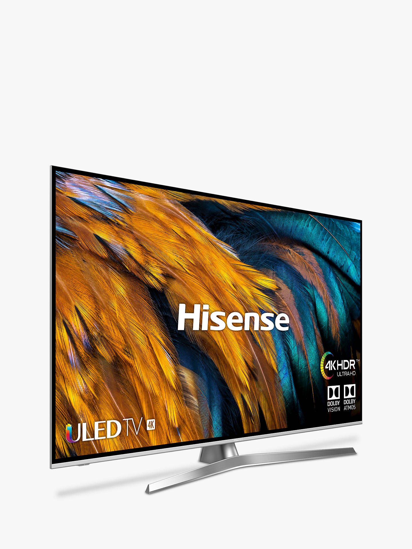 "Buy Hisense H50U7BUK (2019) ULED HDR 4K Ultra HD Smart TV, 50"" with Freeview Play, Black/Silver Online at johnlewis.com"