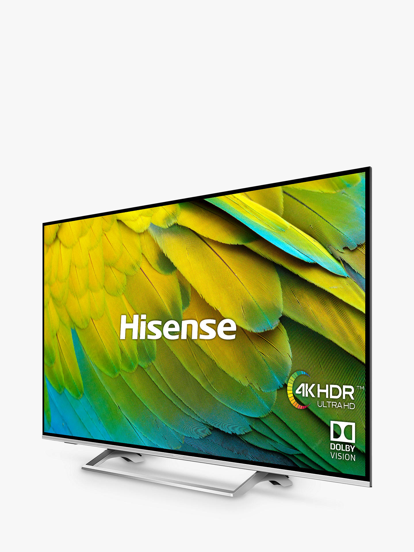 "Buy Hisense H55B7500UK (2019) LED HDR 4K Ultra HD Smart TV, 55"" with Freeview Play, Black/Silver Online at johnlewis.com"