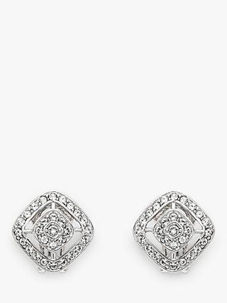 2da3a241f Emma Holland Swarovski Crystal Diamond Shape Clip-On Stud Earrings, Silver