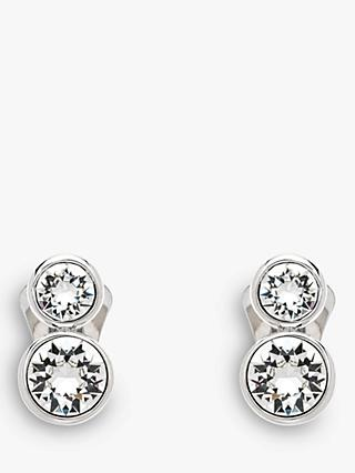 Emma Holland Double Swarovski Crystal Clip-On Stud Earrings, Silver