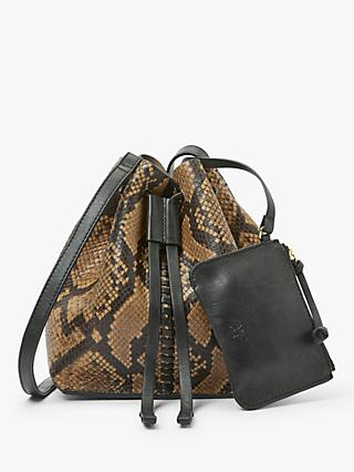 AND/OR Tulum Medium Leather Drawstring Shoulder Bag, Snake Effect