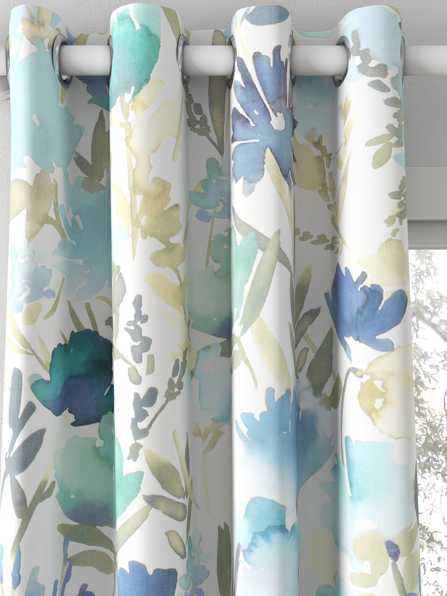 John Lewis Amp Partners Bloom Made To Measure Curtains Blue