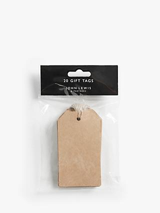 John Lewis & Partners Kraft Luggage Gift Tags, Pack of 20