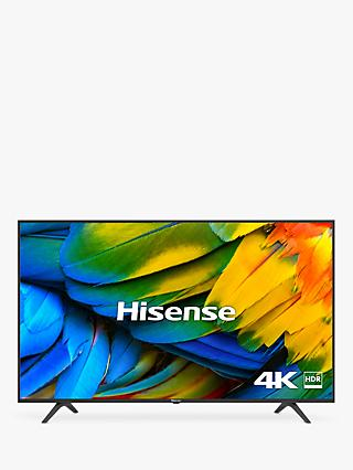 "Hisense H50B7100UK (2019) LED HDR 4K Ultra HD Smart TV, 50"" with Freeview Play, Black/Silver"