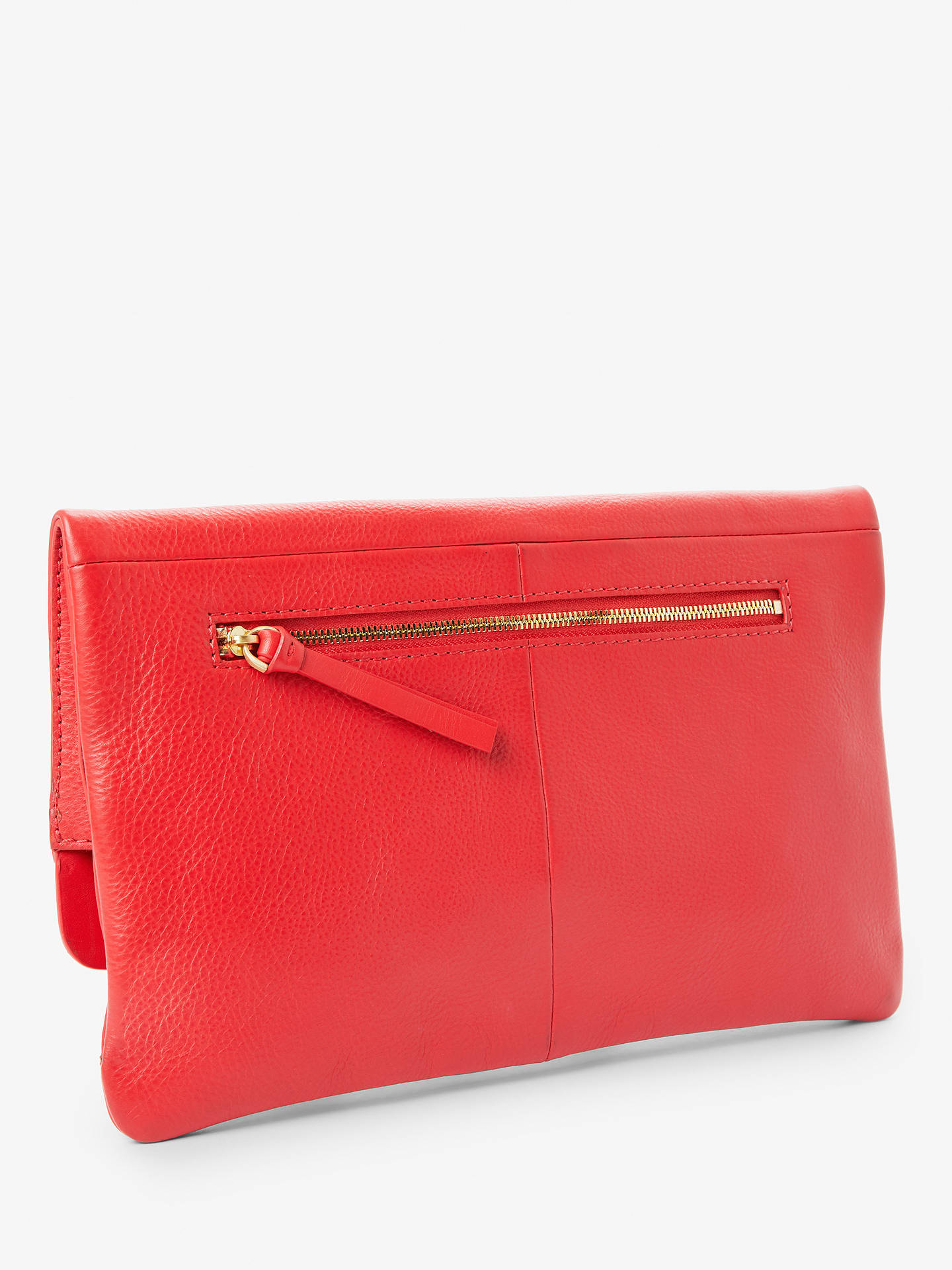 Buy John Lewis & Partners Leather Mistry Clutch Bag, Red Online at johnlewis.com