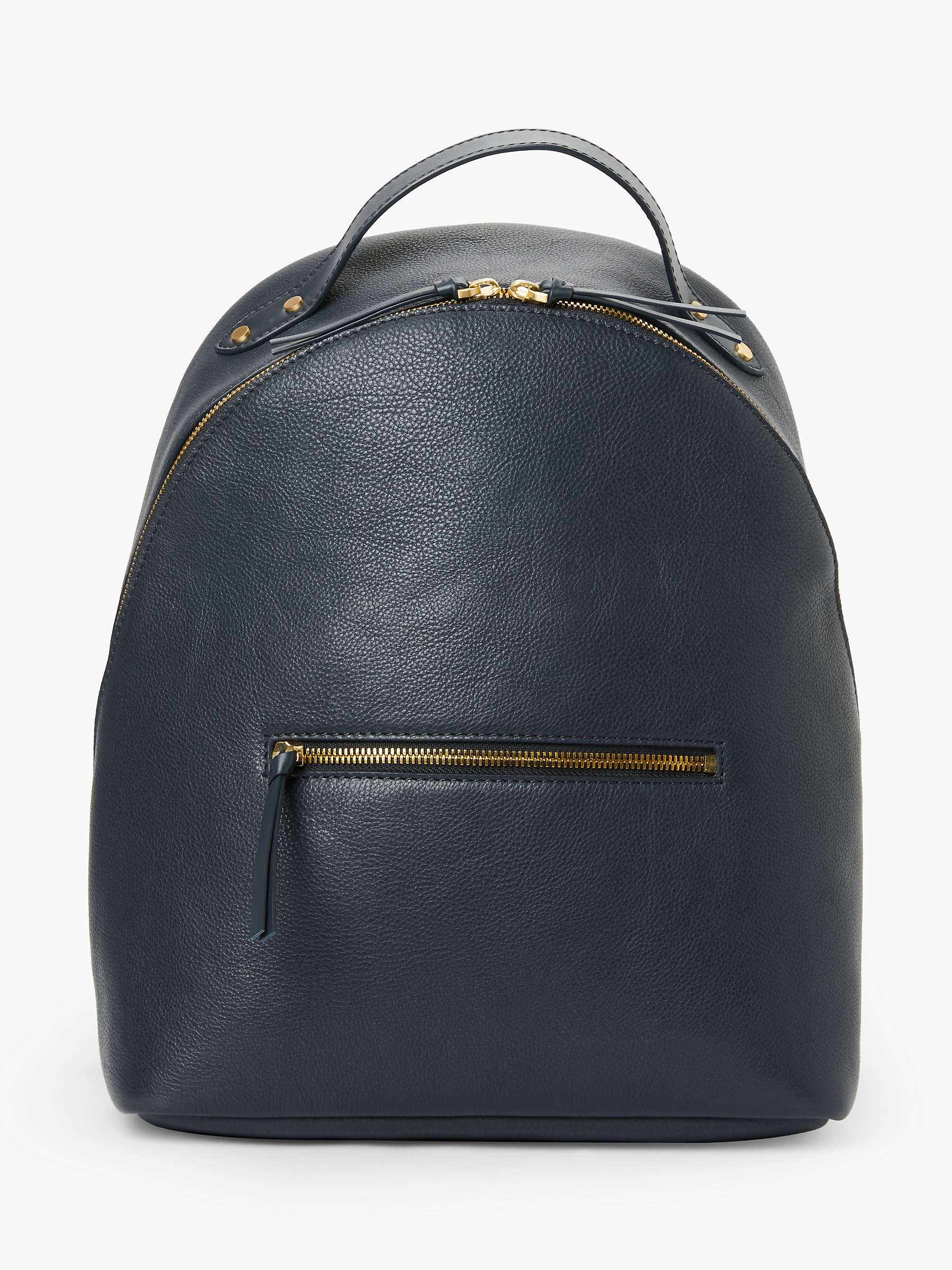 premium selection classic official images John Lewis & Partners Harper Leather Backpack, Navy at John ...