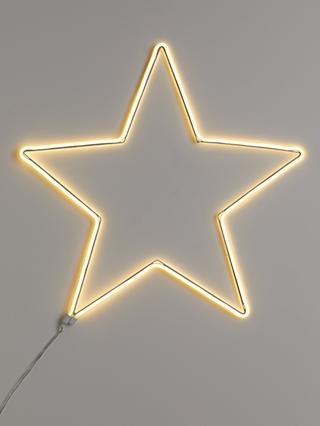 John Lewis & Partners Party Neon Star Light, Large, Pure White