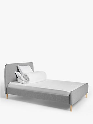 House by John Lewis Bonn Upholstered Double Bed Frame with Open Coil, Medium Tension Mattress, 10.5 Tog Duvet and Pair of Standard Microfibre Pillows