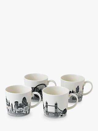 Royal Doulton Charlene Mullen London Calling Mugs, Set of 4, 400ml, Black/White
