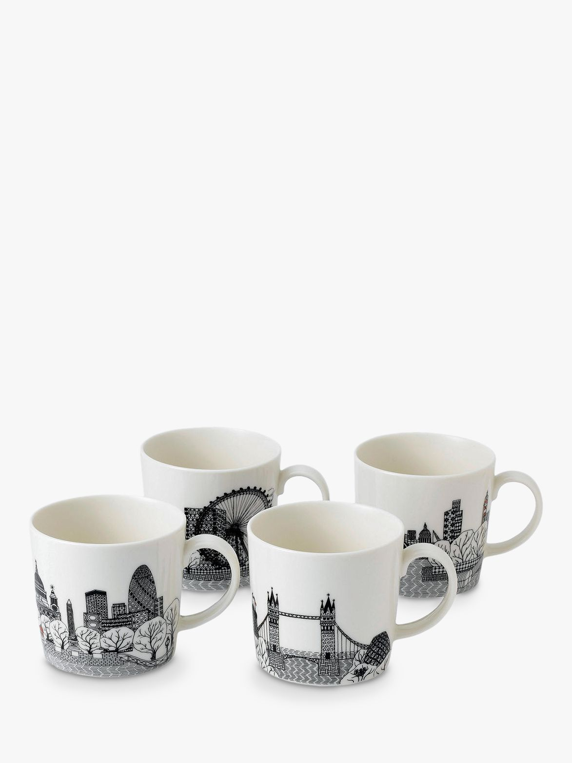 Royal Doulton Royal Doulton Charlene Mullen London Calling Mugs, Set of 4, 400ml, Black/White