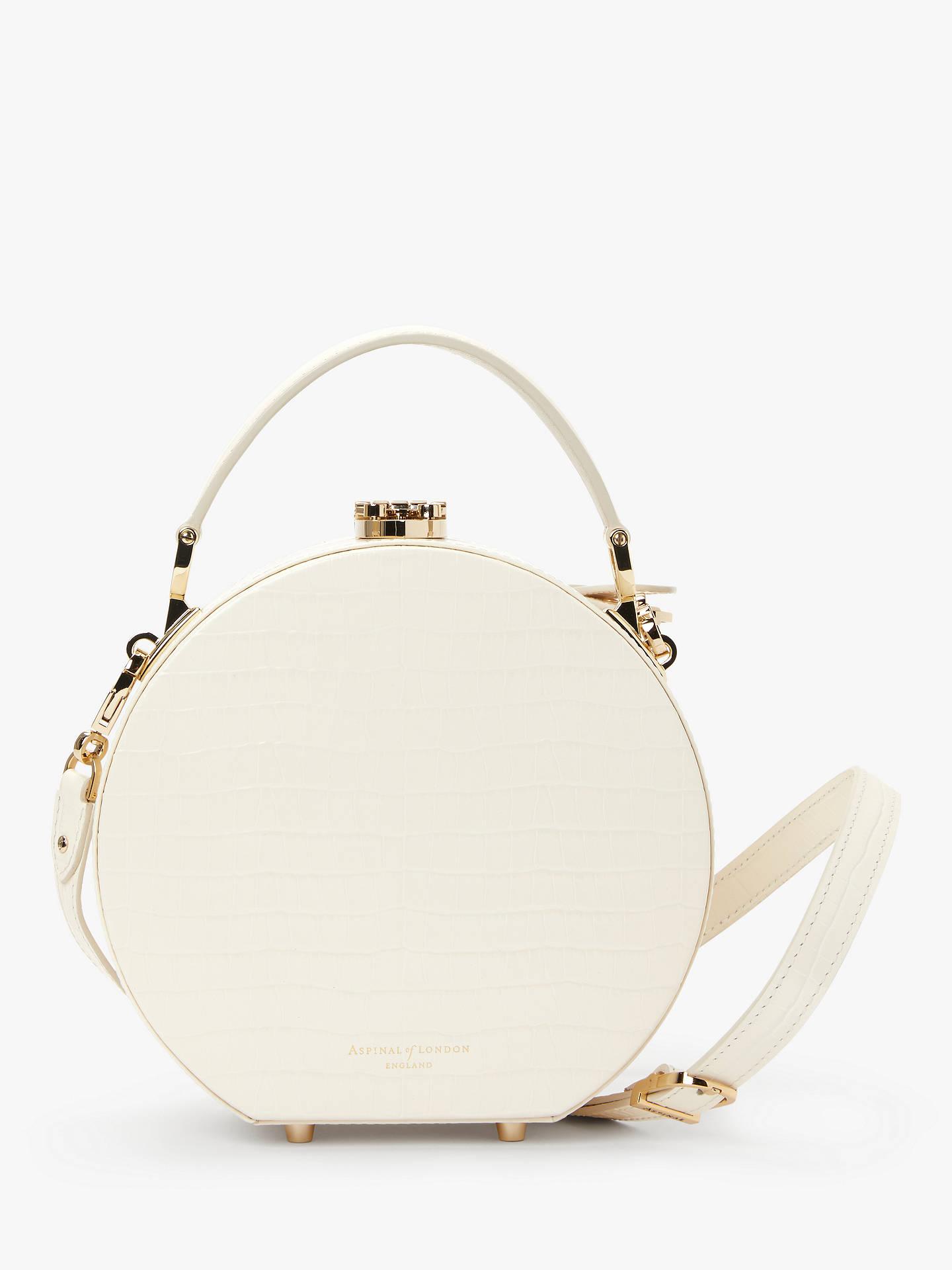 153c3838e4 Aspinal of London Leather Mini Hat Box Grab Bag, Ivory Croc