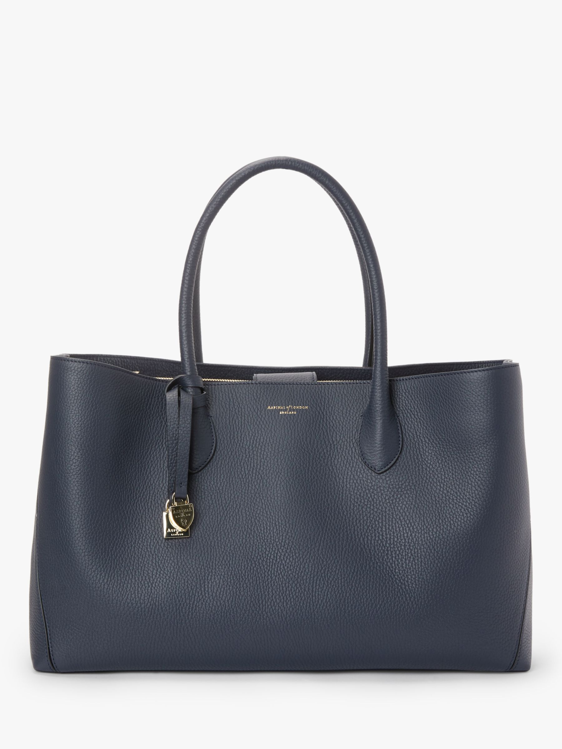 45c6d9725d2 Aspinal of London The Oversized London Leather Tote Bag, Navy