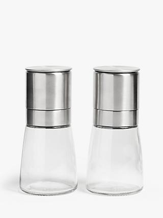 John Lewis & Partners Tip Top Stainless Steel Salt & Pepper Mills, Set of 2, Silver/Clear