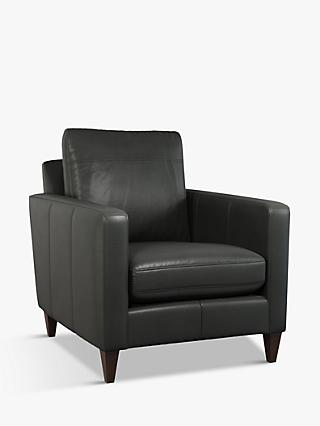John Lewis & Partners Bailey Leather Armchair, Dark Leg, Milan Grey