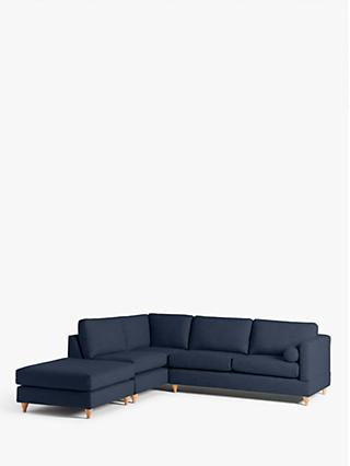 John Lewis & Partners Tilda LHF Chaise End Sofa, Light Leg, Harris Navy