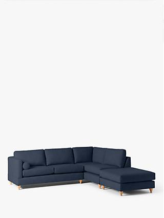 John Lewis & Partners Tilda RHF Chaise End Sofa, Light Leg, Harris Navy
