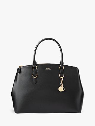 aadc5a251f Lauren Ralph Lauren Bennington Large Double Zip Leather Satchel, Black