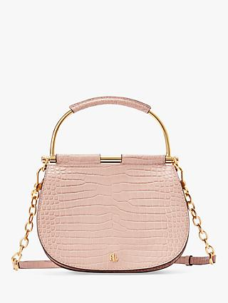 752e21d80fd Lauren Ralph Lauren Enfield Mason 20 Croc Effect Leather Satchel, Mellow  Pink