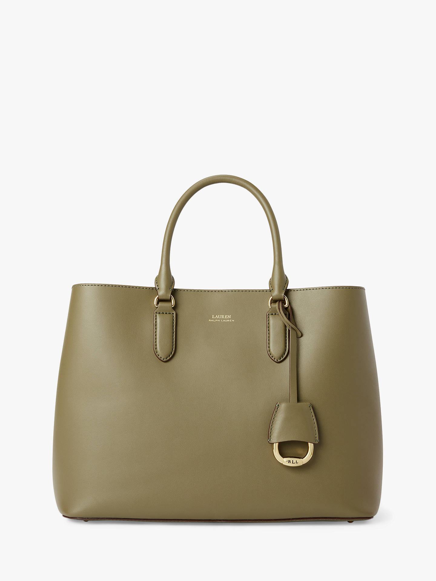 bafbaeaddd Lauren Ralph Lauren Dryden Marcy Leather Satchel Bag, Sage/Vanilla