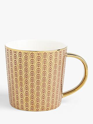 John Lewis & Partners The Arts Mug, 400ml, Pink/Gold