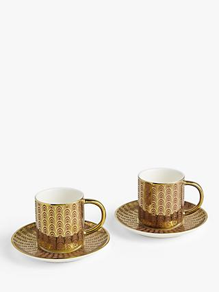 John Lewis & Partners The Arts Espresso Cups & Saucers, Set of 2, 100ml, Pink/Gold