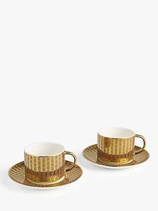 John Lewis & Partners The Arts Tea Cups & Saucers, Set of 2, 220ml, Pink/Gold